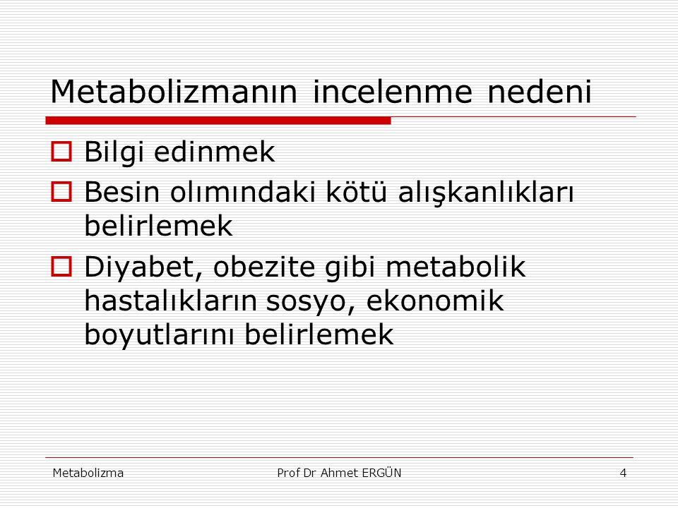Metabolizmanın incelenme nedeni