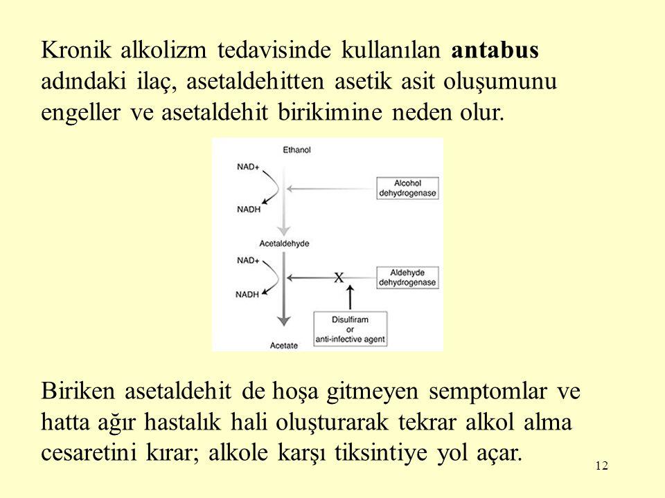 Kronik alkolizm tedavisinde kullanılan antabus adındaki ilaç, asetaldehitten asetik asit oluşumunu engeller ve asetaldehit birikimine neden olur.