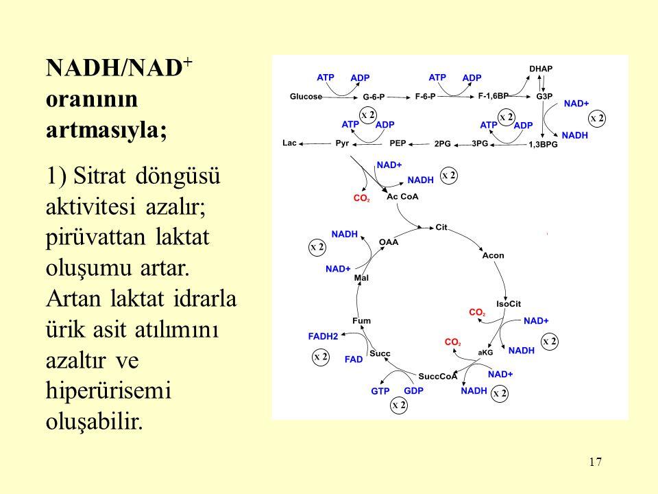 NADH/NAD+ oranının artmasıyla;