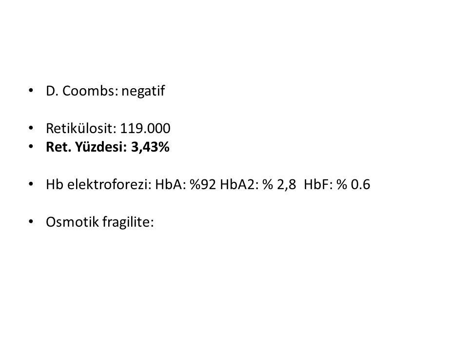 D. Coombs: negatif Retikülosit: 119.000. Ret. Yüzdesi: 3,43% Hb elektroforezi: HbA: %92 HbA2: % 2,8 HbF: % 0.6.