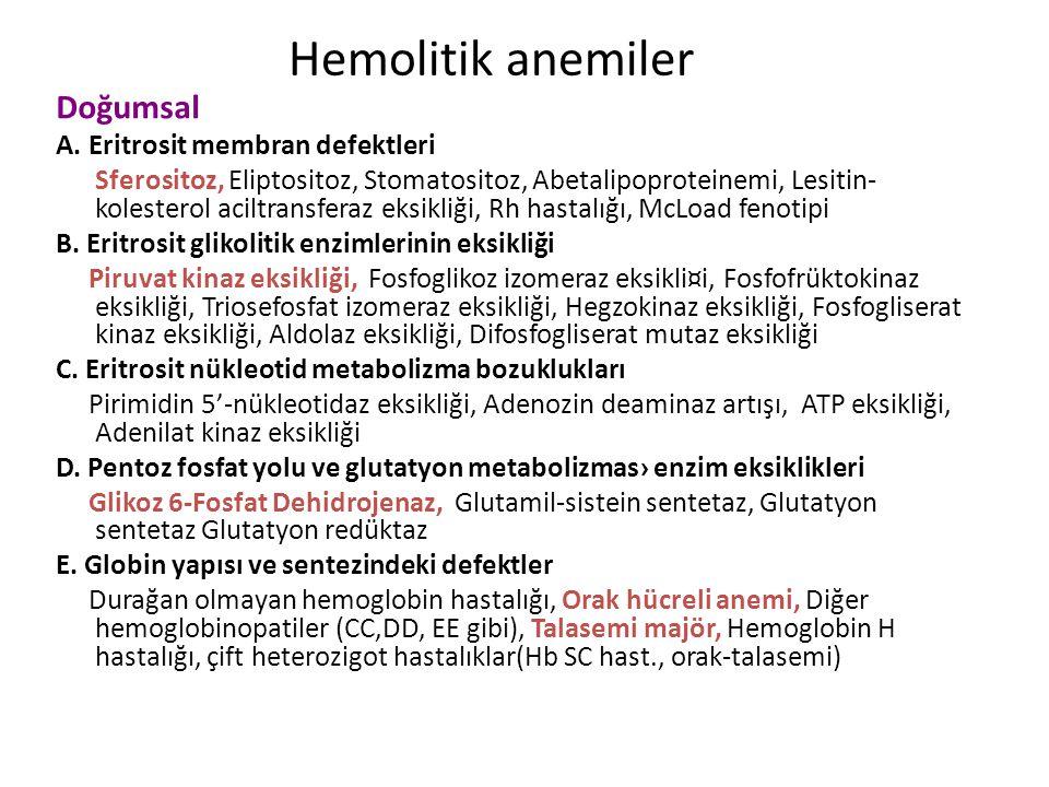 Hemolitik anemiler Doğumsal A. Eritrosit membran defektleri
