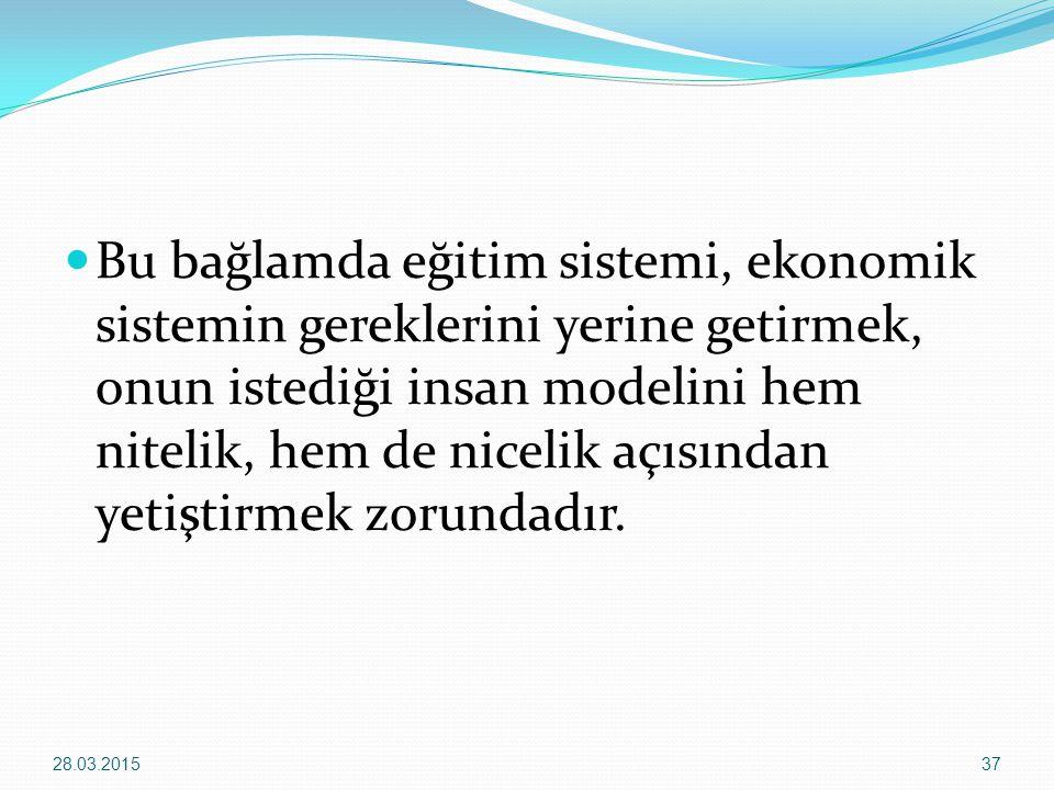 Bu bağlamda eğitim sistemi, ekonomik sistemin gereklerini yerine getirmek, onun istediği insan modelini hem nitelik, hem de nicelik açısından yetiştirmek zorundadır.