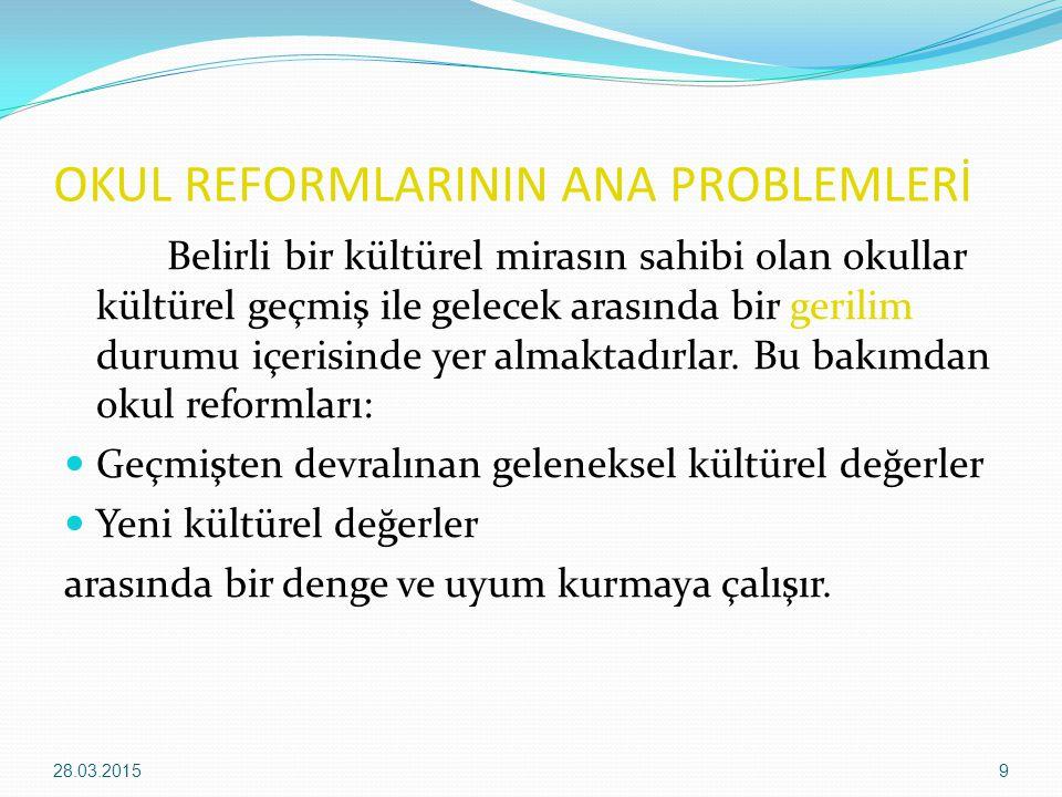 OKUL REFORMLARININ ANA PROBLEMLERİ