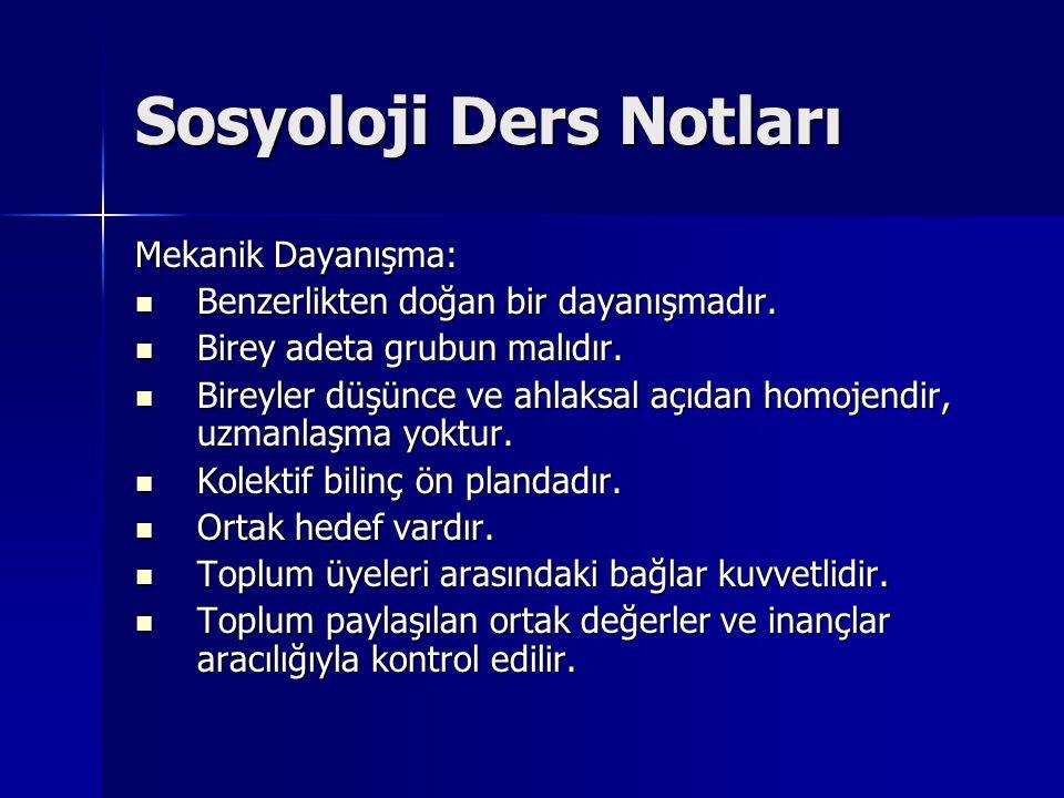 Sosyoloji Ders Notları