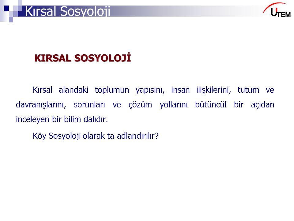 KIRSAL SOSYOLOJİ