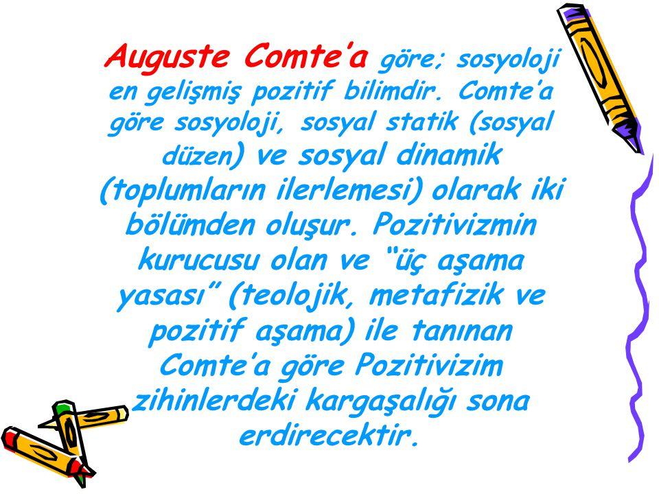 Auguste Comte'a göre; sosyoloji en gelişmiş pozitif bilimdir