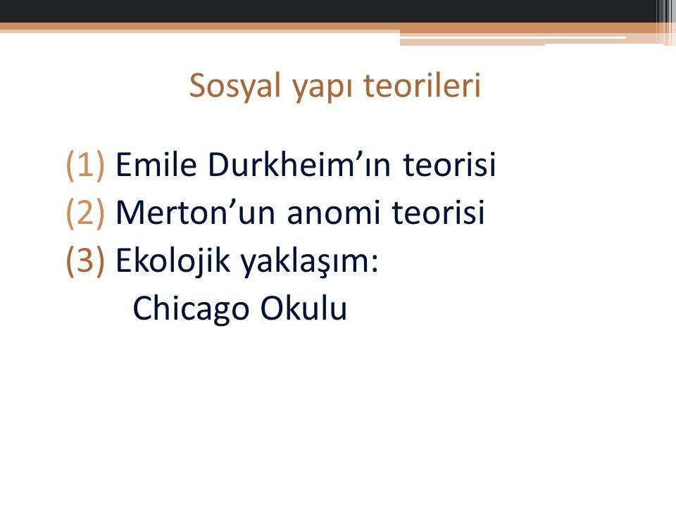 Sosyal yapı teorileri Emile Durkheim'ın teorisi. Merton'un anomi teorisi.