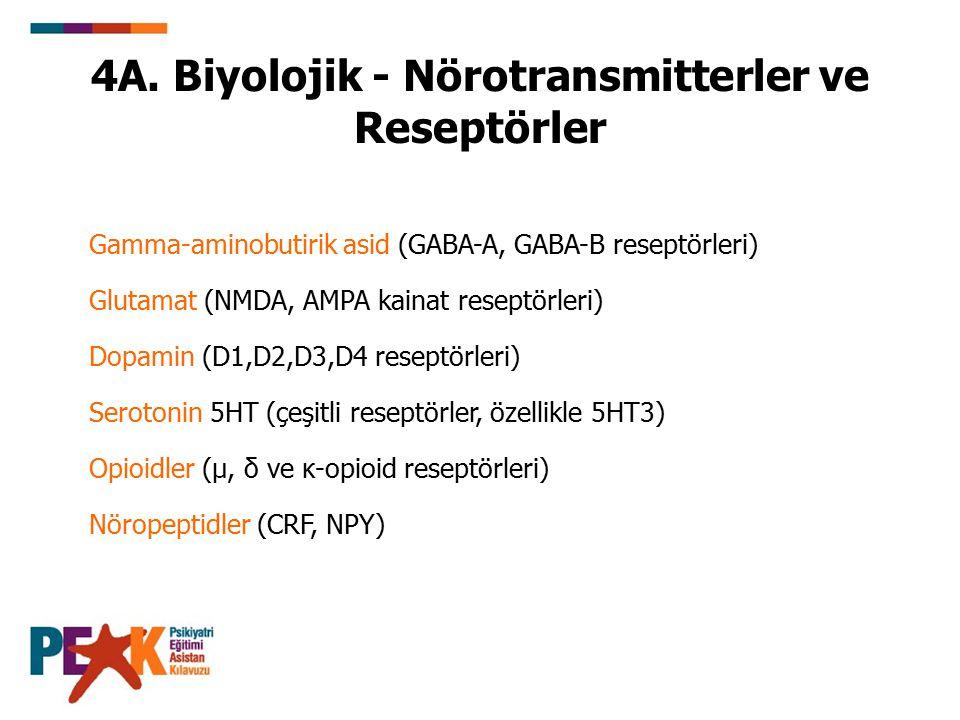 4A. Biyolojik - Nörotransmitterler ve Reseptörler