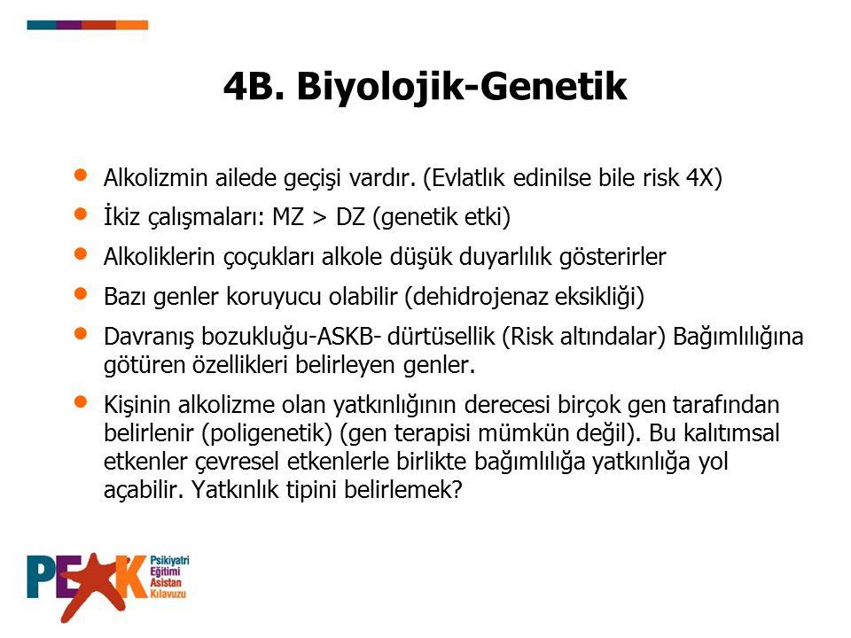 4B. Biyolojik-Genetik Alkolizmin ailede geçişi vardır. (Evlatlık edinilse bile risk 4X) İkiz çalışmaları: MZ > DZ (genetik etki)