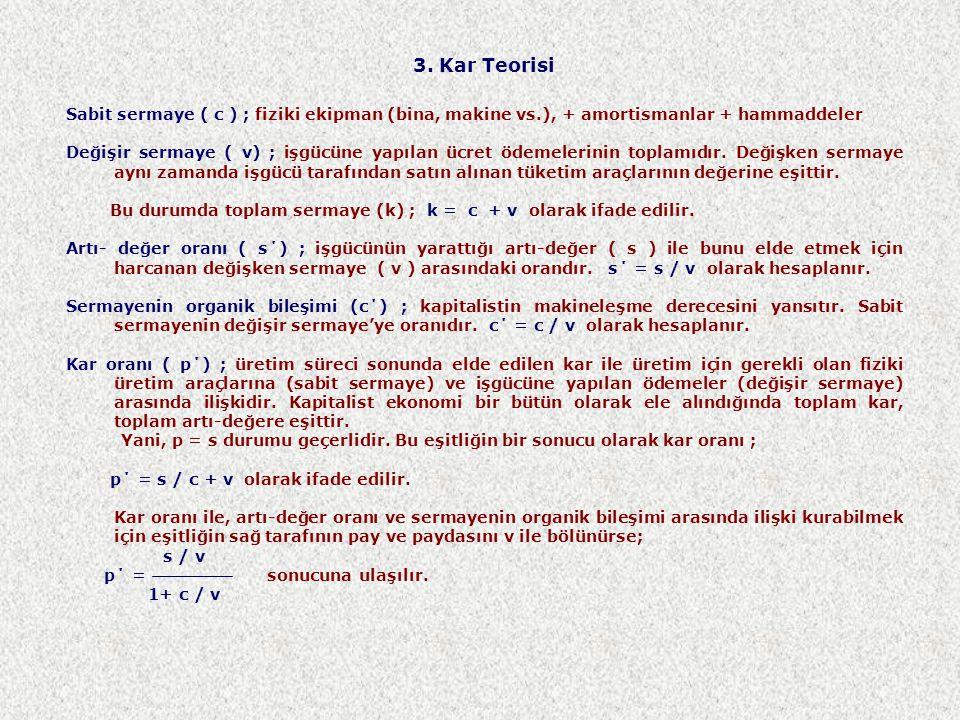 3. Kar Teorisi Sabit sermaye ( c ) ; fiziki ekipman (bina, makine vs.), + amortismanlar + hammaddeler.