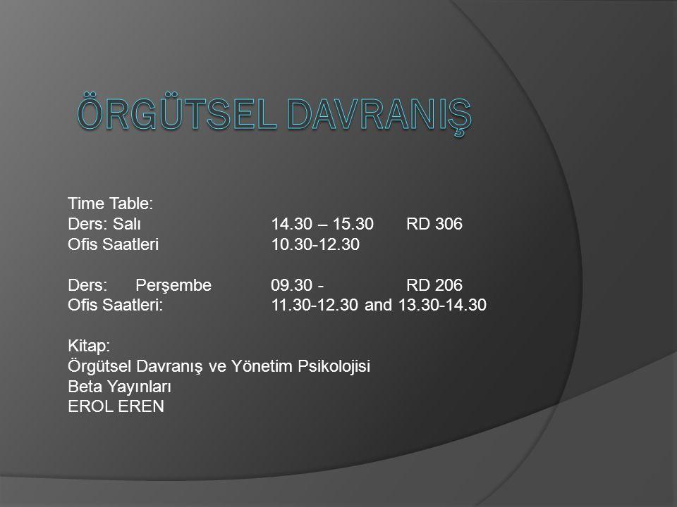 ÖRGÜTSEL DAVRANIŞ Time Table: Ders: Salı 14.30 – 15.30 RD 306