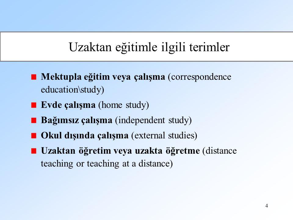 Uzaktan eğitimle ilgili terimler