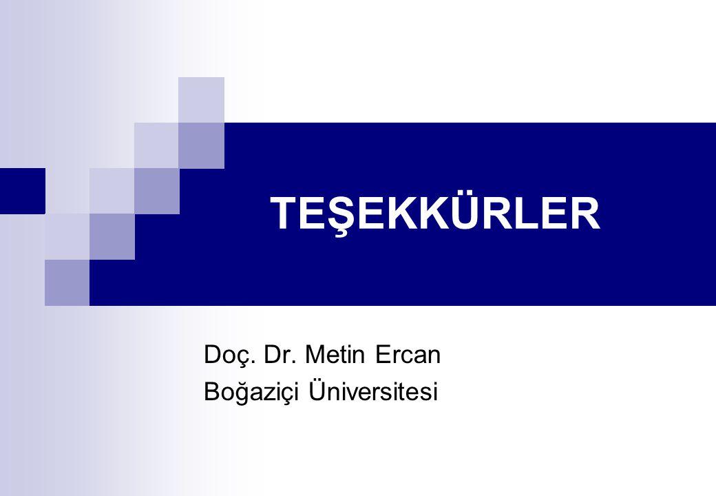 Doç. Dr. Metin Ercan Boğaziçi Üniversitesi