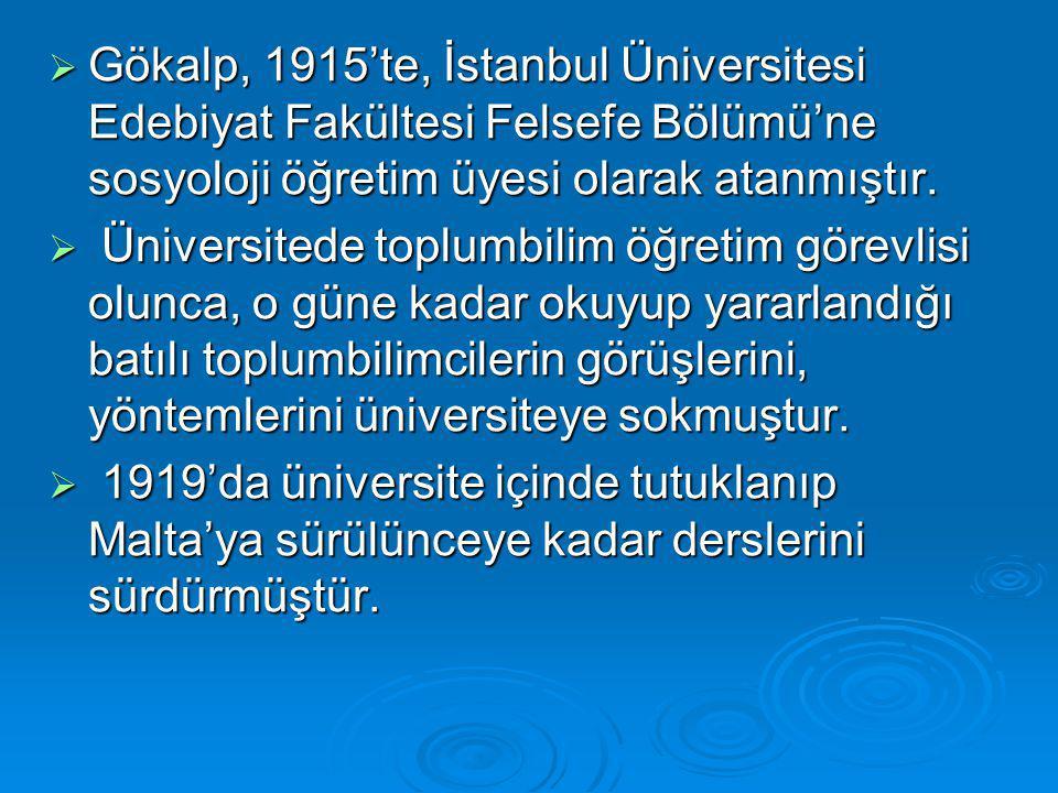 Gökalp, 1915'te, İstanbul Üniversitesi Edebiyat Fakültesi Felsefe Bölümü'ne sosyoloji öğretim üyesi olarak atanmıştır.
