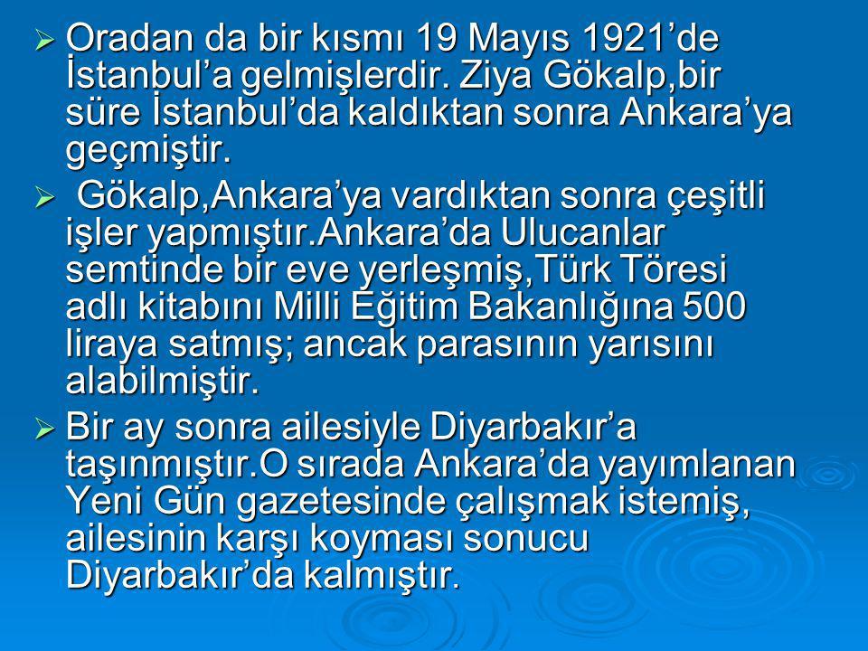 Oradan da bir kısmı 19 Mayıs 1921'de İstanbul'a gelmişlerdir