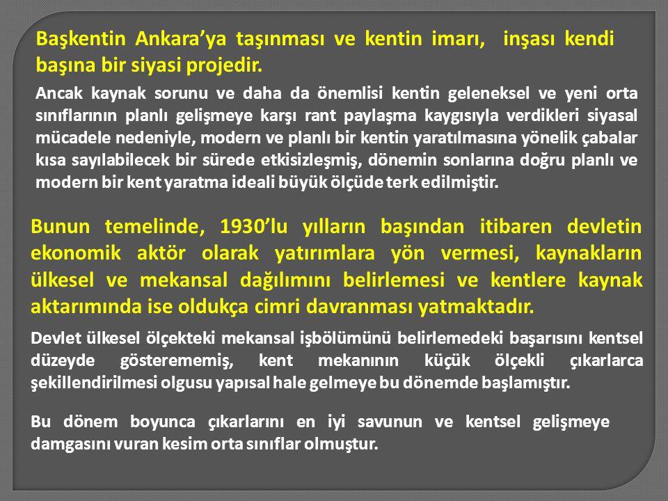 Başkentin Ankara'ya taşınması ve kentin imarı, inşası kendi başına bir siyasi projedir.
