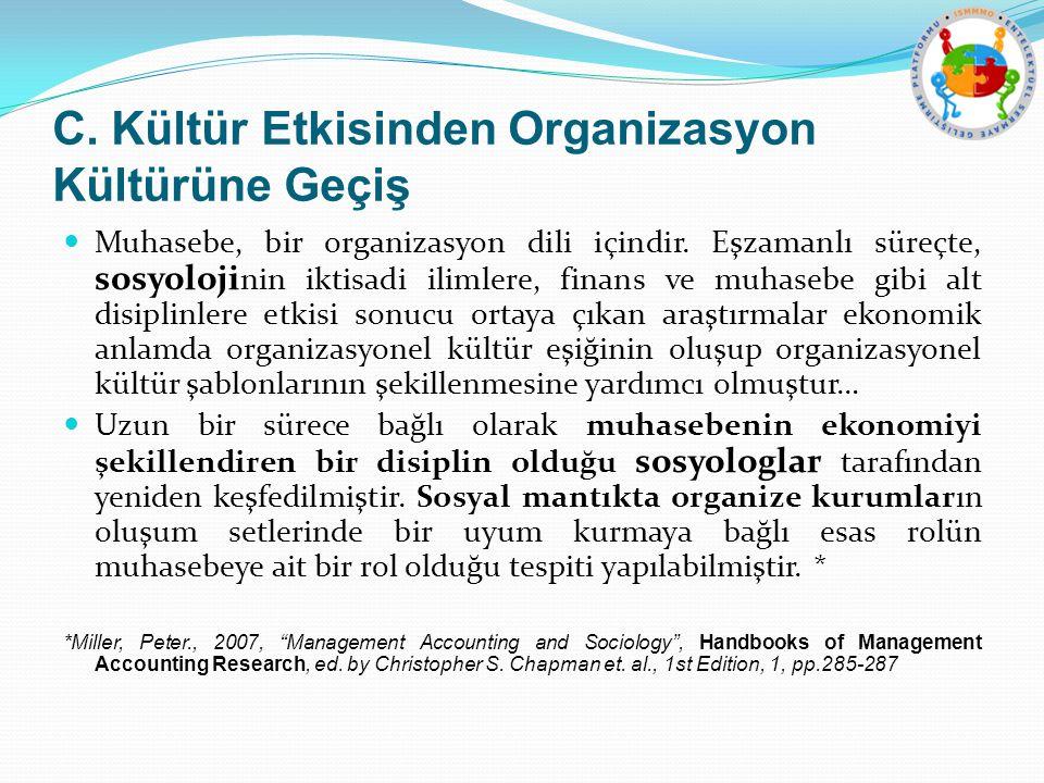 C. Kültür Etkisinden Organizasyon Kültürüne Geçiş