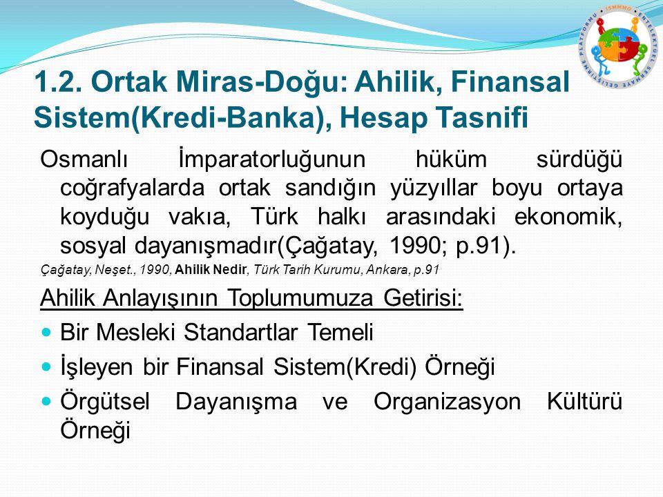 1.2. Ortak Miras-Doğu: Ahilik, Finansal Sistem(Kredi-Banka), Hesap Tasnifi