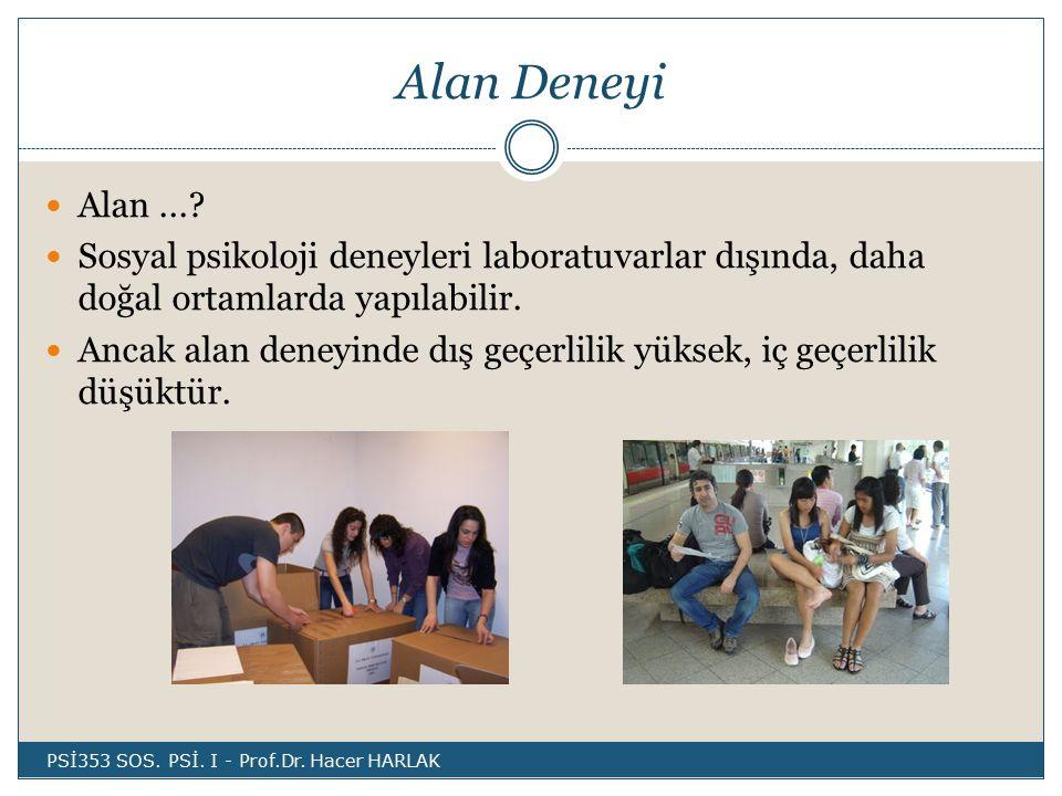 Alan Deneyi Alan ... Sosyal psikoloji deneyleri laboratuvarlar dışında, daha doğal ortamlarda yapılabilir.