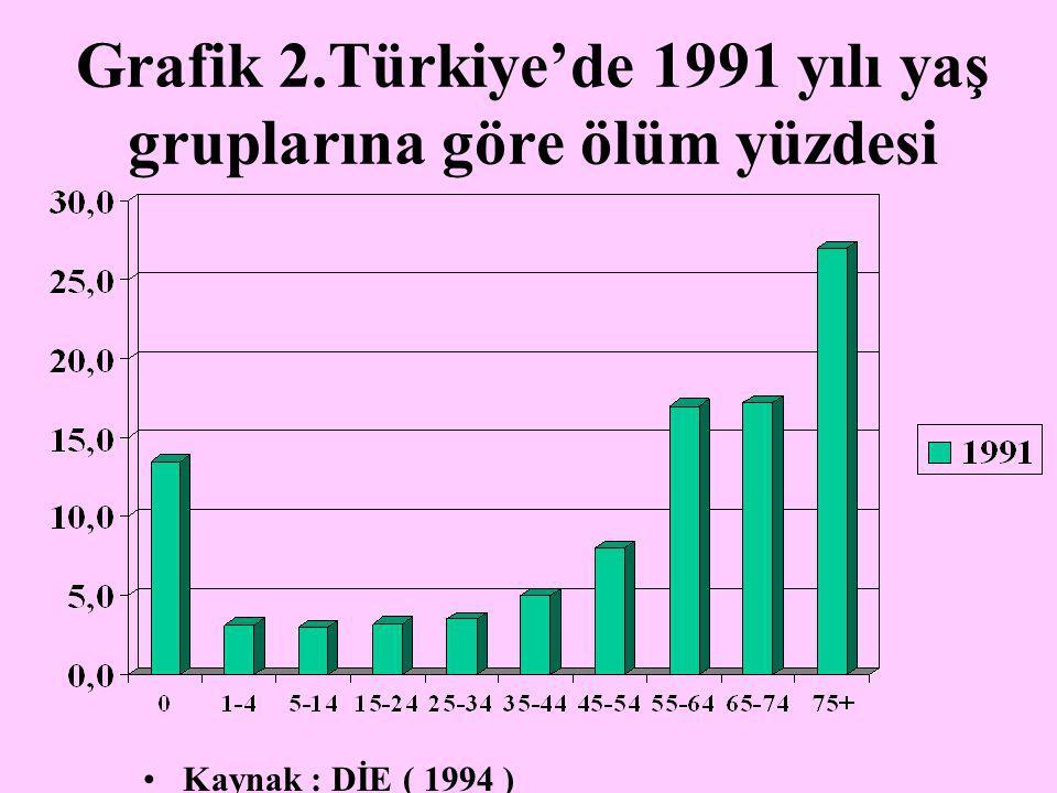 Grafik 2.Türkiye'de 1991 yılı yaş gruplarına göre ölüm yüzdesi