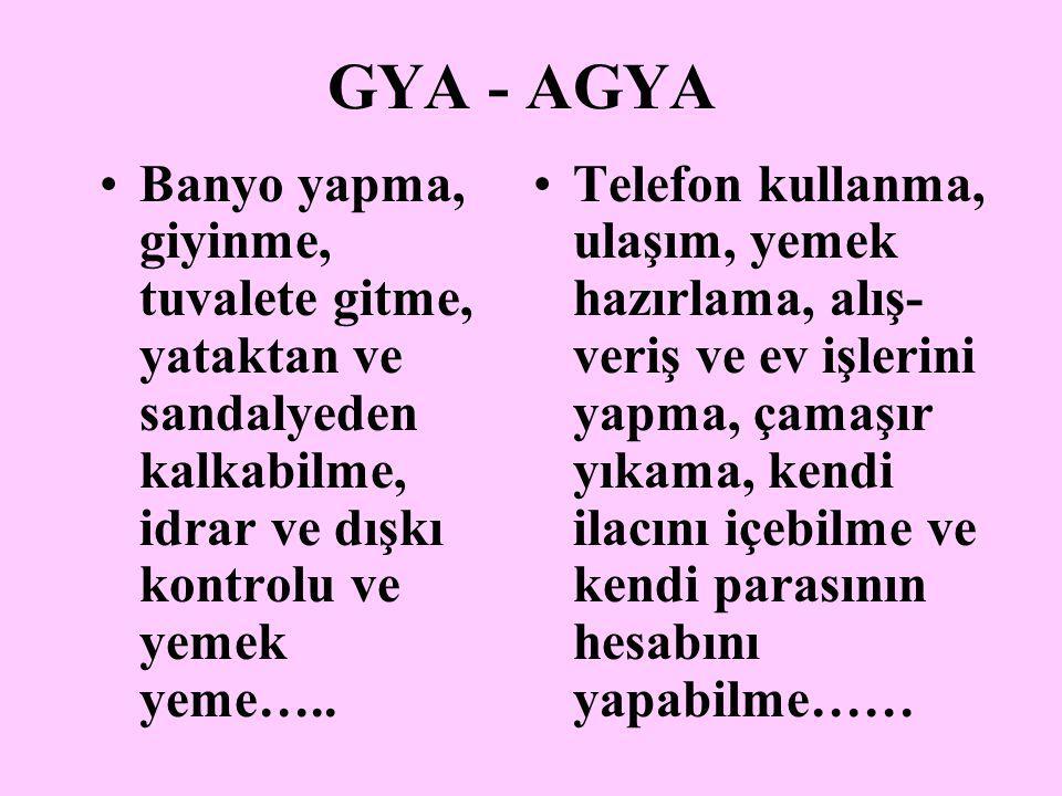 GYA - AGYA Banyo yapma, giyinme, tuvalete gitme, yataktan ve sandalyeden kalkabilme, idrar ve dışkı kontrolu ve yemek yeme…..