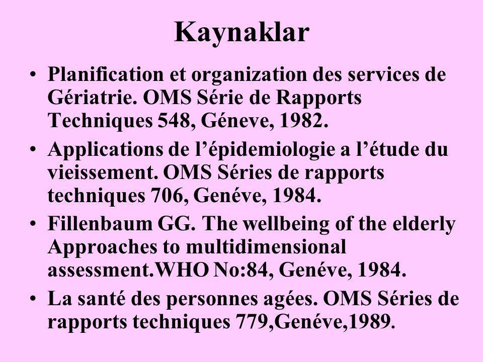 Kaynaklar Planification et organization des services de Gériatrie. OMS Série de Rapports Techniques 548, Géneve, 1982.