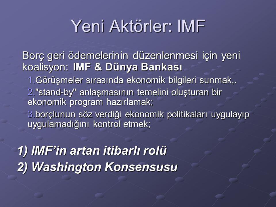 Yeni Aktörler: IMF 1) IMF'in artan itibarlı rolü