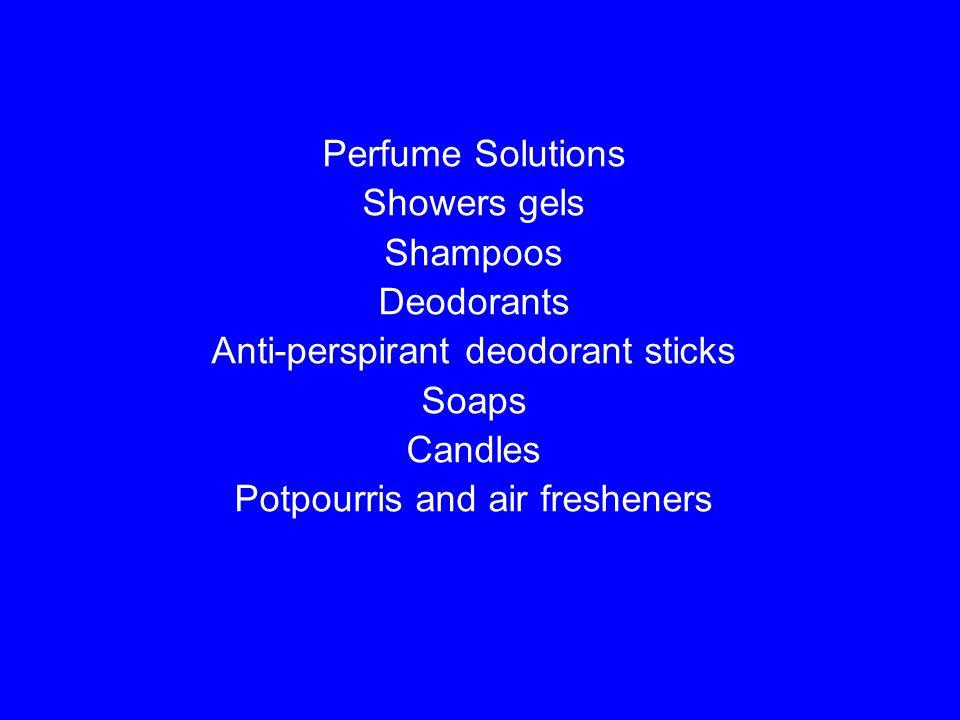 Anti-perspirant deodorant sticks Soaps Candles