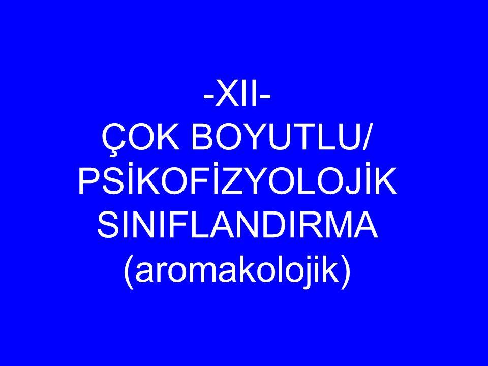 -XII- ÇOK BOYUTLU/ PSİKOFİZYOLOJİK SINIFLANDIRMA (aromakolojik)