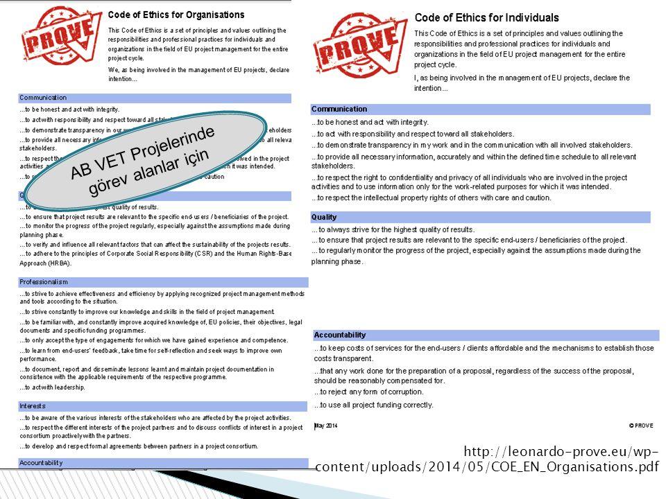 AB VET Projelerinde görev alanlar için
