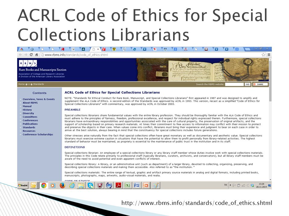 ACRL Code of Ethics for Special Collections Librarians