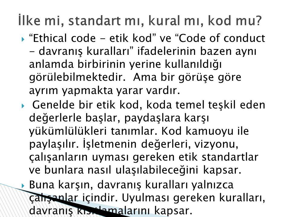 İlke mi, standart mı, kural mı, kod mu