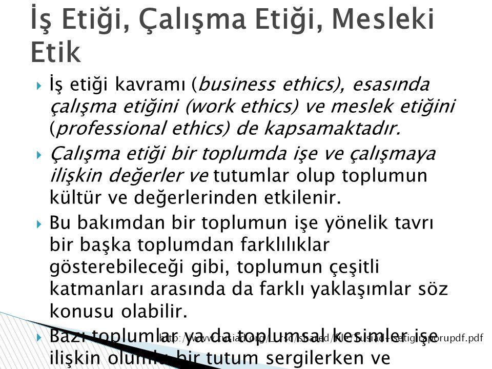İş Etiği, Çalışma Etiği, Mesleki Etik