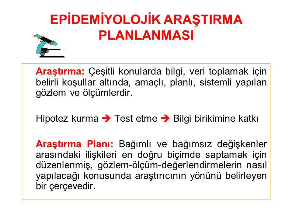 EPİDEMİYOLOJİK ARAŞTIRMA PLANLANMASI