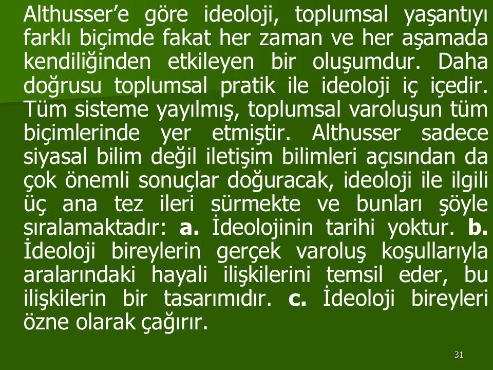 Althusser'e göre ideoloji, toplumsal yaşantıyı farklı biçimde fakat her zaman ve her aşamada kendiliğinden etkileyen bir oluşumdur.