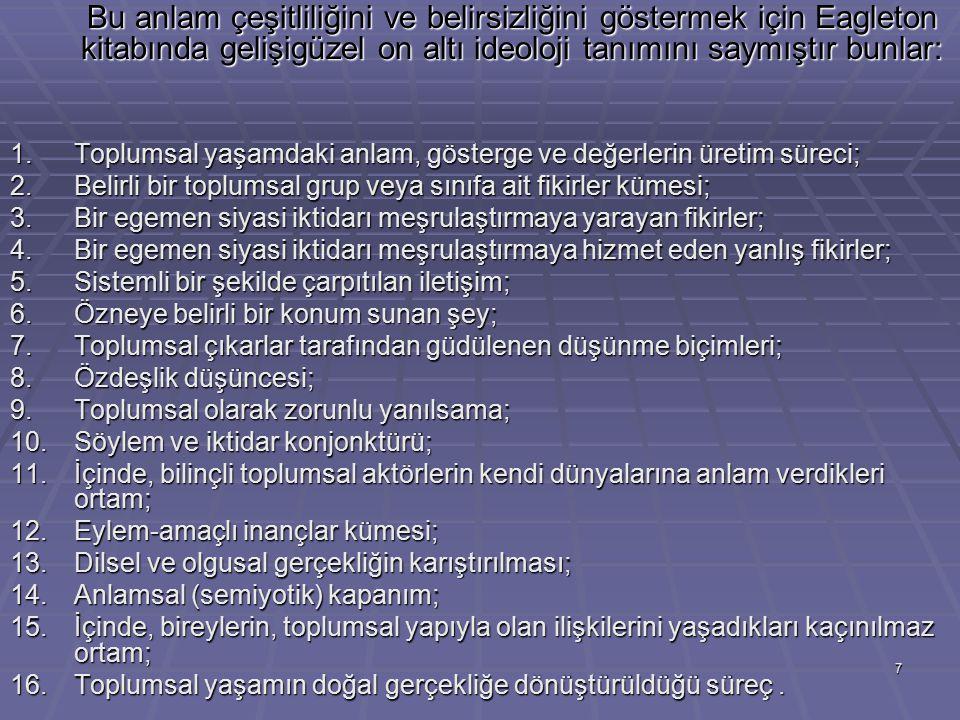 1. Toplumsal yaşamdaki anlam, gösterge ve değerlerin üretim süreci;