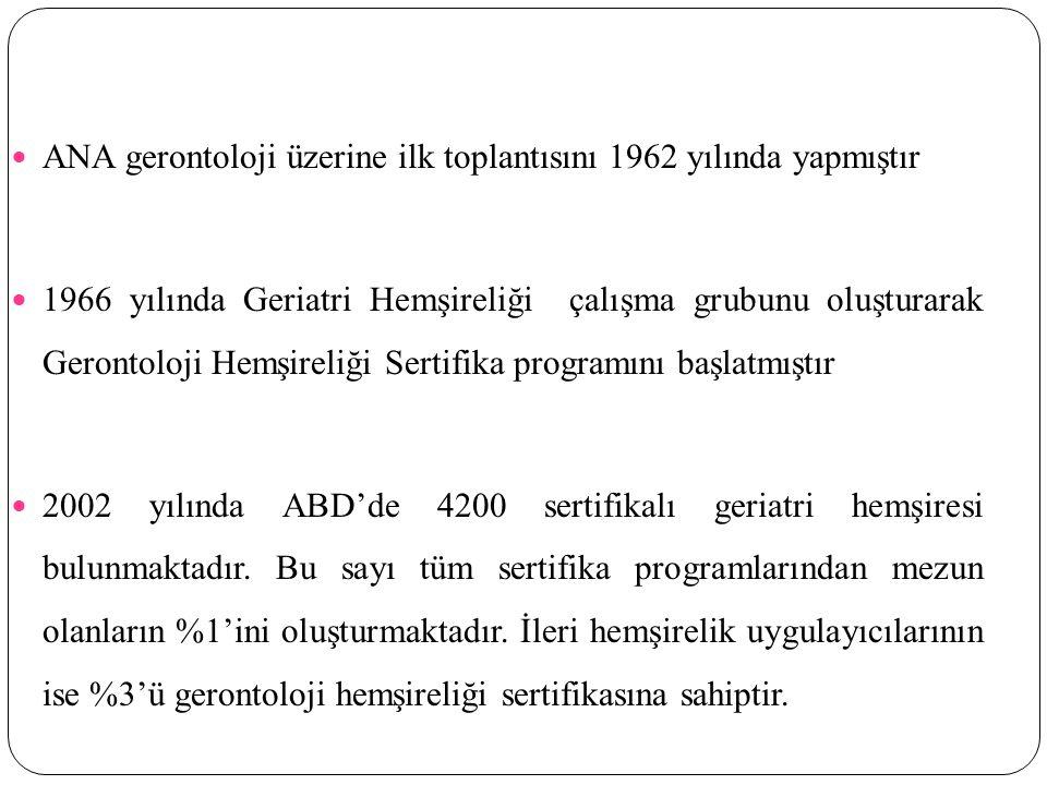 ANA gerontoloji üzerine ilk toplantısını 1962 yılında yapmıştır