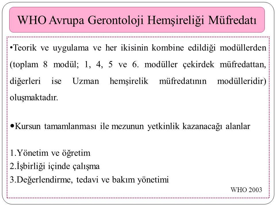 WHO Avrupa Gerontoloji Hemşireliği Müfredatı