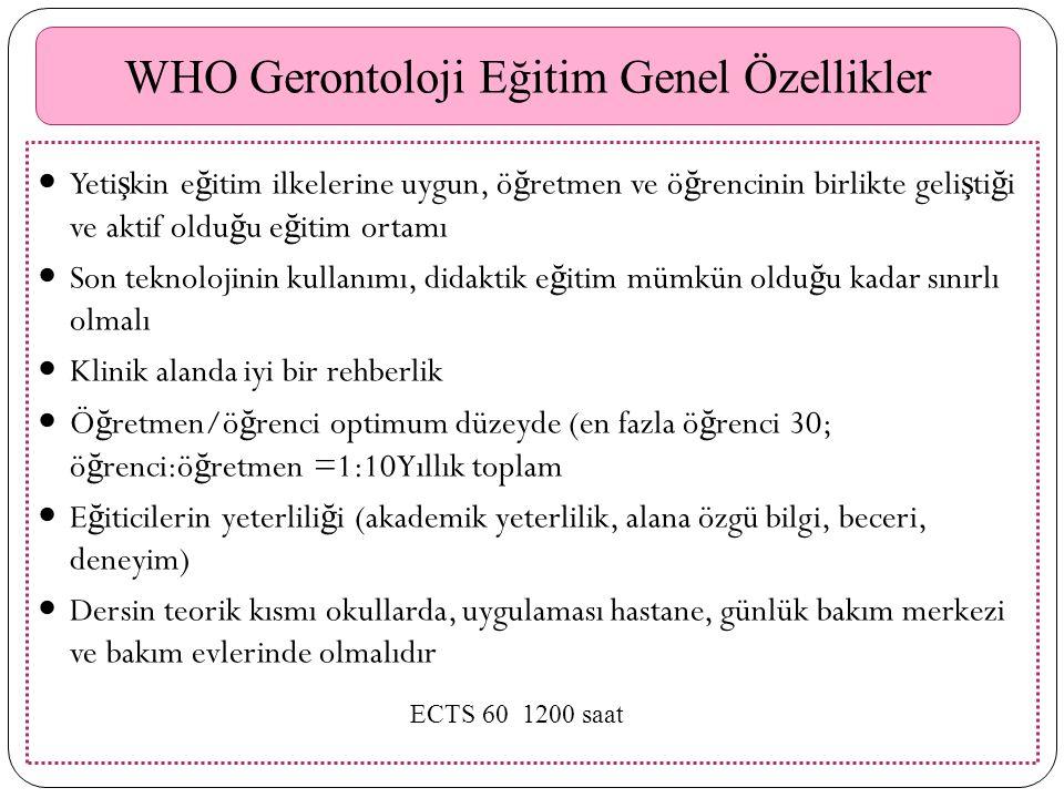 WHO Gerontoloji Eğitim Genel Özellikler