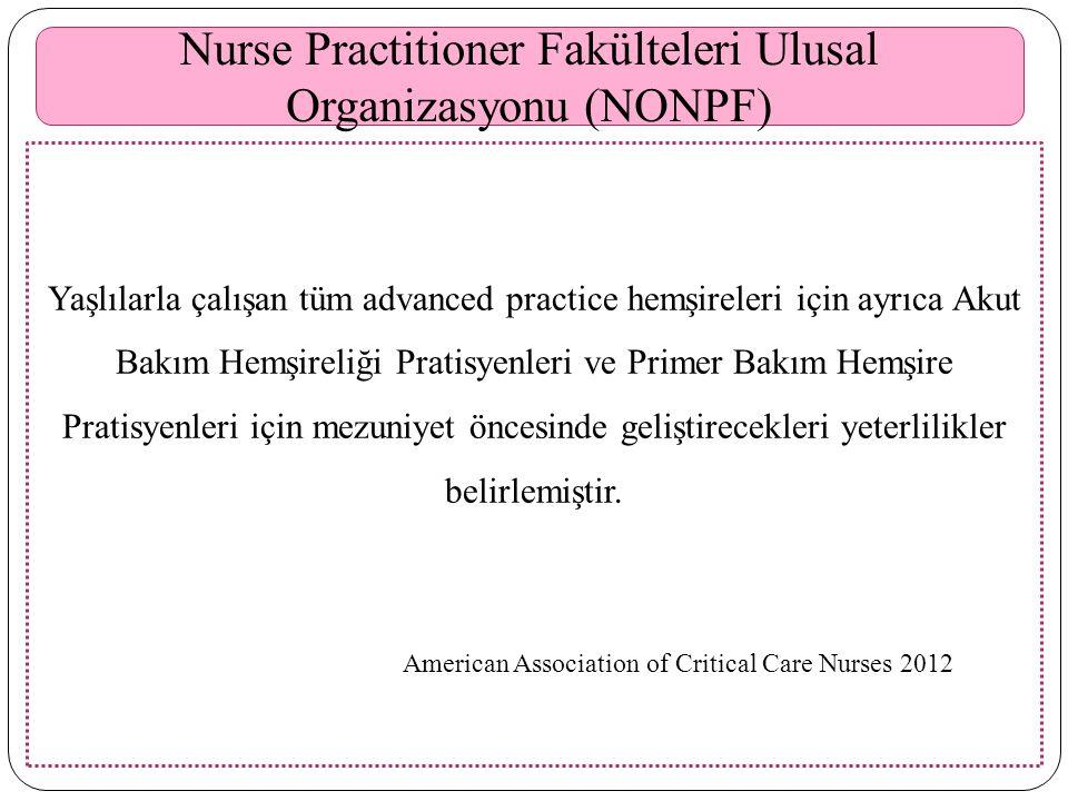 Nurse Practitioner Fakülteleri Ulusal Organizasyonu (NONPF)