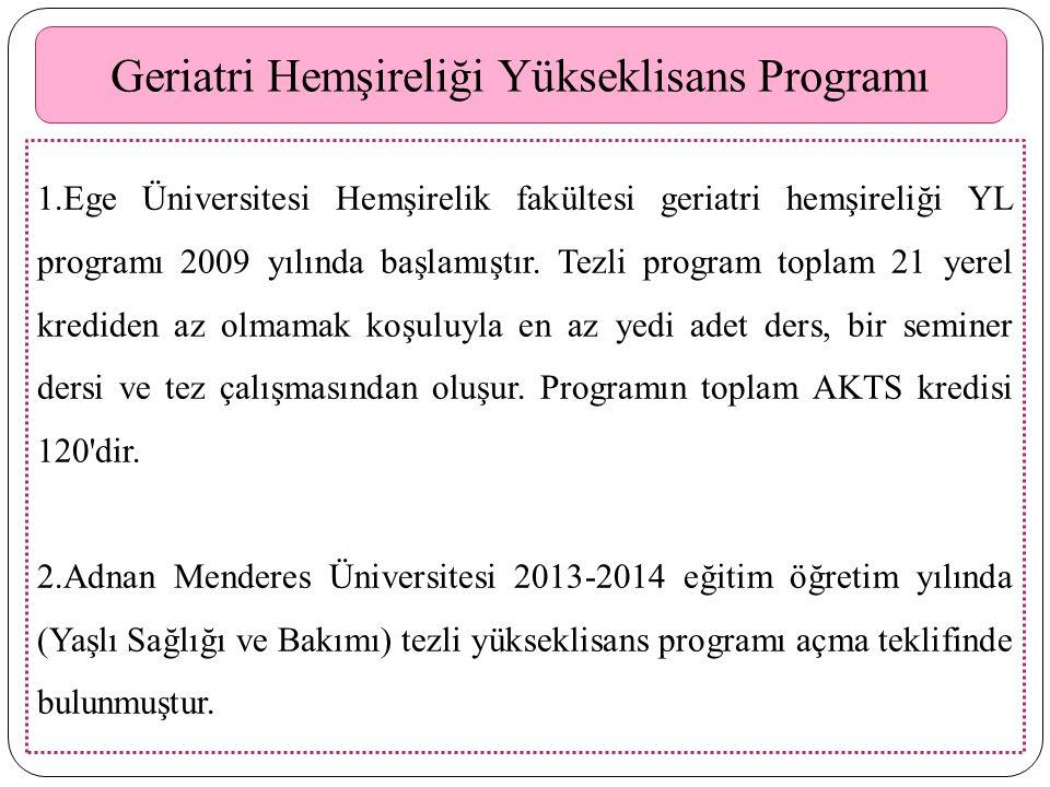 Geriatri Hemşireliği Yükseklisans Programı