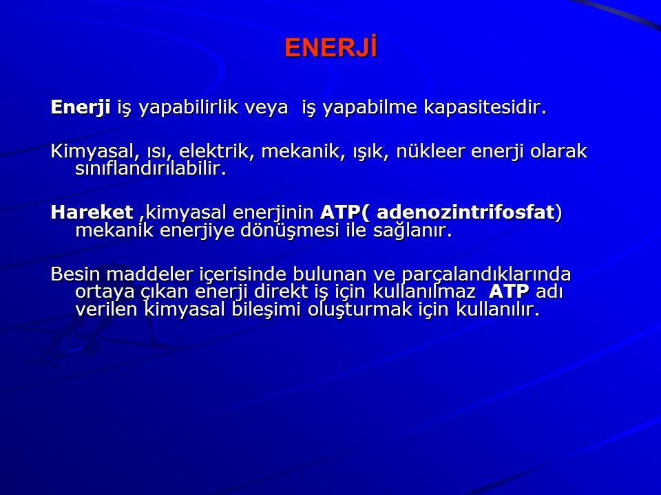 ENERJİ Enerji iş yapabilirlik veya iş yapabilme kapasitesidir.