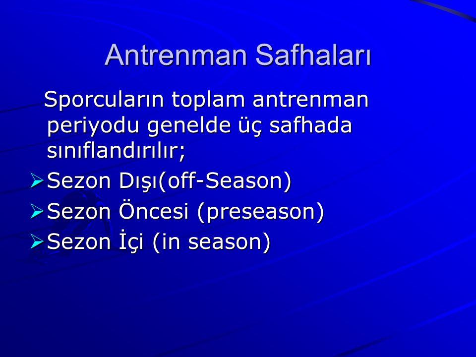 Antrenman Safhaları Sporcuların toplam antrenman periyodu genelde üç safhada sınıflandırılır; Sezon Dışı(off-Season)
