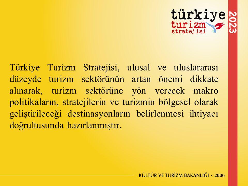 Türkiye Turizm Stratejisi, ulusal ve uluslararası düzeyde turizm sektörünün artan önemi dikkate alınarak, turizm sektörüne yön verecek makro politikaların, stratejilerin ve turizmin bölgesel olarak geliştirileceği destinasyonların belirlenmesi ihtiyacı doğrultusunda hazırlanmıştır.