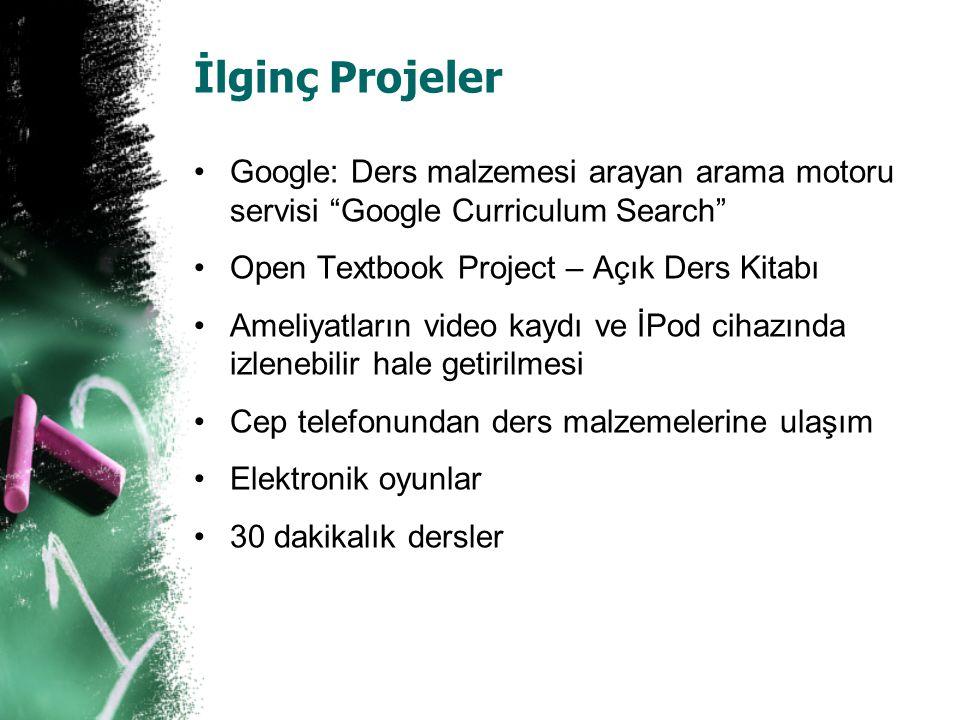 İlginç Projeler Google: Ders malzemesi arayan arama motoru servisi Google Curriculum Search Open Textbook Project – Açık Ders Kitabı.