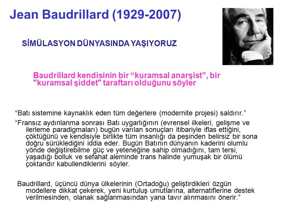 Jean Baudrillard (1929-2007) SİMÜLASYON DÜNYASINDA YAŞIYORUZ