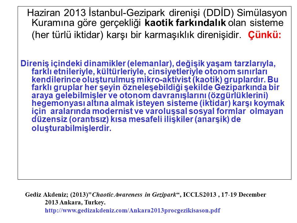 Haziran 2013 İstanbul-Gezipark direnişi (DDİD) Simülasyon Kuramına göre gerçekliği kaotik farkındalık olan sisteme (her türlü iktidar) karşı bir karmaşıklık direnişidir. Çünkü: