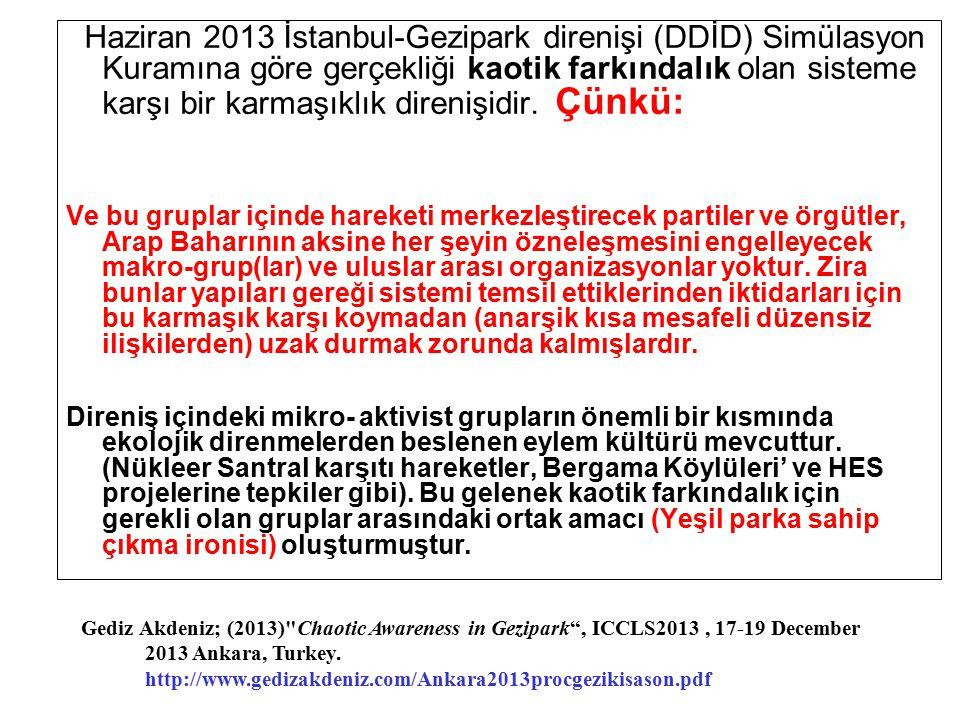 Haziran 2013 İstanbul-Gezipark direnişi (DDİD) Simülasyon Kuramına göre gerçekliği kaotik farkındalık olan sisteme karşı bir karmaşıklık direnişidir. Çünkü:
