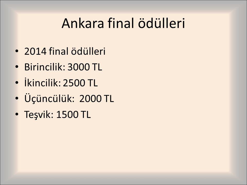 Ankara final ödülleri 2014 final ödülleri Birincilik: 3000 TL