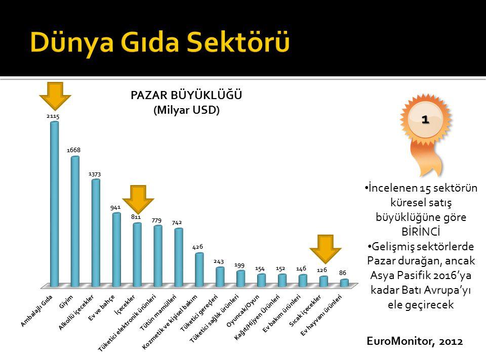 İncelenen 15 sektörün küresel satış büyüklüğüne göre BİRİNCİ